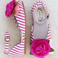 Pink & White Stripe Aubrey Ankle-Strap Flat & Hair Clip - Kids   Something special every day
