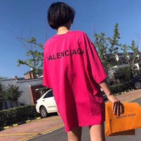 """Balenciaga"" Women Loose Casual Simple Letter Print Short Sleeve T-shirt Mini Dress"