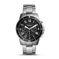 Grant Sport Chronograph Stainless Steel Watch, Black | FOSSIL