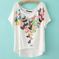 Peach Hearts Two-sided Print Loose Short T-shirts
