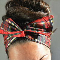 Plaid dolly bow headband- Dollybow Head Band- 100% silk.  Promo code for 20% off entire order FALL20