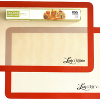 "Silicone Baking Mats, 2-Pc Half Sheets (16.5""x11.6""), by Ludy's Kitchen"