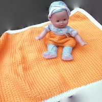 Clearance Sale Nice Orange and Off White Crochet Baby Blanket with Crochet Swim Shorts Summer