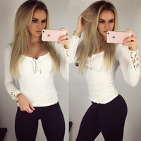 New fashion solid color V-neck long-sleeved shirt lace cuff strap