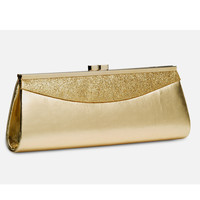Gold Glitter Top Lock Clutch