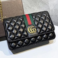 GUCCI New fashion stripe more letter leather chain shoulder bag crossbody bag Black