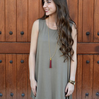 Game Day Tank Dress- Olive