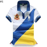 POLO 2018 summer new lapels color matching men's short-sleeved T-shirt #1