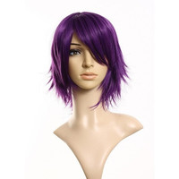 Fashion Purple Short Wig Cosplay Party Straight Wigs Animation Wig