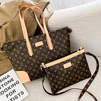 LV Fashion classic two-piece bag with soft leather and large capacity shopping bag