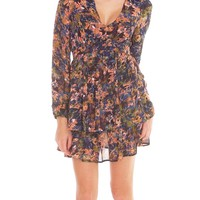 Flower Featuring Ruffle Dress - Navy Floral