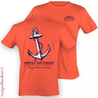 Simply Southern Funny Coral Anchor Logo Sweet Girlie Bright T Shirt