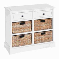 Benzara Wood Basket Cabinet in Exclusive White Color