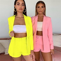2020 new slim fit lapel suit jacket shorts small suit flouresecent Yellow or pink