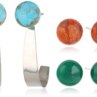 8-8.5mm Button Shaped Sponge Coral, Stabilized Turquoise and Green agate Stud Earrings with Sterling Silver Jacket Set