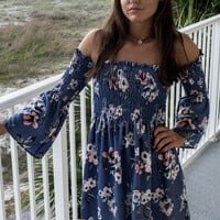 Calm And Carefree Blue Floral Dress