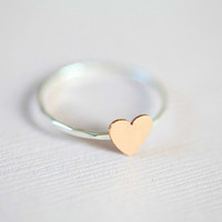 Just a tiny heart ring dainty ring  sterling silver by moncadeau