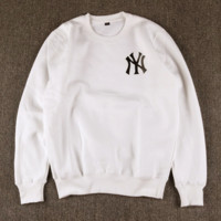 NY Embroidered Unisex Lovers' Round Neck Sweater Pullover With Velvet