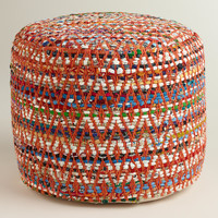 Multi-Color Round Chindi Pouf - World Market