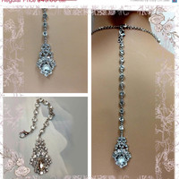 Bridal jewelry , back drop for necklace, crystal back drop, wedding jewelry, vintage inspired jewelry