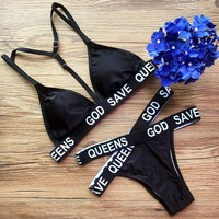 Two Piece Black Bikini Set Sports Swimsuits Beachwear