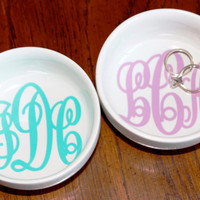 Monogrammed Jewelry Dish - Monogrammed Ring Dish - Jewelry Holder - Ring Bowl - Bridal Gift