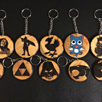 Woodburned Necklace Keychain - Fandom gift Fairy Tail Final Fantasy Doctor Who Star Wars One Piece DBZ Cat Necklace Anime Manga jewelry