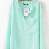 Turquoise Collarless Dipped Hem Blouse with Front Pocket S00
