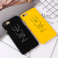 """Fashion """"Nice"""" Yellow Black Phone Back Hard PC Cover For iPhone 7 7plus Funny Nice Emoji Case For iPhone SE  6s  plus Cellphone"""