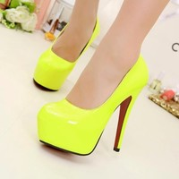 Classics Women's Fluorescent Yellow High Heels Platform Stiletto Pump Shoes 1nJ
