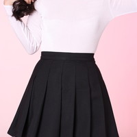 Glitters For Dinner — MADE TO ORDER - Black Pleated Cheer Skirt