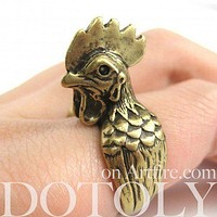 Chicken Hen Rooster Shaped Adjustable Animal Wrap Around Ring in Brass