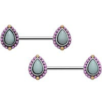 "14 Gauge 9/16"" Light Blue and Pink Pastel Teardrop Nipple Ring Set"