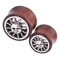double flare ear plug gauges flesh tunnel plugs body piercing jewelry Sun Wood plug and tunnel