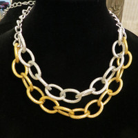 Silver and Gold Large Thick and Chunky Chain Necklace / textured oval links two tone toned ombre statement jewelry cuff layering necklace