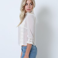 Dream Up Blouse - Cream Lace