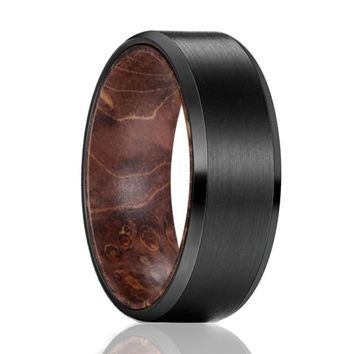 ZINGER Black Brushed Tungsten Dark Box Elder Wood Ring for Men - 8MM