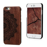 New Style Bamboo Carving Wood Hard Back Wooden Case Cover For iPhone 6 6S Plus Traditional Sculpture Wooden Phone Shell Cases