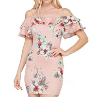 Open Shoulder Flounce Layer Short Sleeves Floral Print Mini Dress
