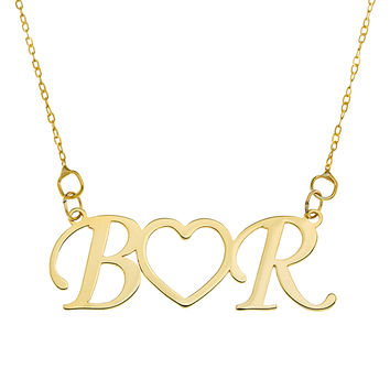 INITIAL HEART NECKLACE - GOLD