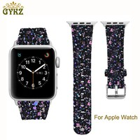 For Apple Watch Series 3/2/1 Leather Bling Luxury Iwatch Band Wristwatch Bracelet Strap Christmas Shiny Glitter Power 38mm 42mm