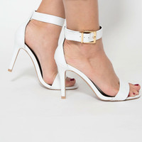 Ground Level Open Toe Heels In White