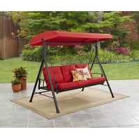 Red, Blue, Green, Brown 3 Seat Converting Outdoor Patio Swing Hammock With Canopy Sun Shade