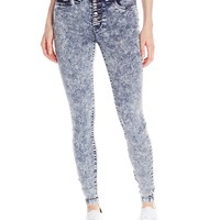 dollhouse Juniors' High-Waist Acid-Wash Skinny Jean
