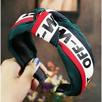 Off White Fashion New Letter Print Contrast Color Headband Hair Clasp Accessories Green