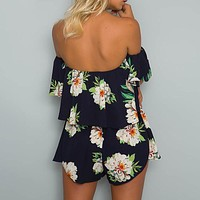 Boho Floral Off Shoulder Ruffles Playsuits Women Backless Sexy Beach Jumpsuit Short Rompers Overall