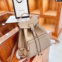 Louis Vuitton LV embossed logo men and women backpack