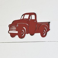 Vintage-Style Red Pickup Truck Heavy Metal Wall Decor