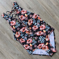 Floral Printed One Piece Swimsuits Push Up Swimwear