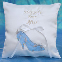 Happily Ever After Princess Cinderella Glass Slipper Silver Glitter White Satin Ring Bearer Pillow 2 Color Choices